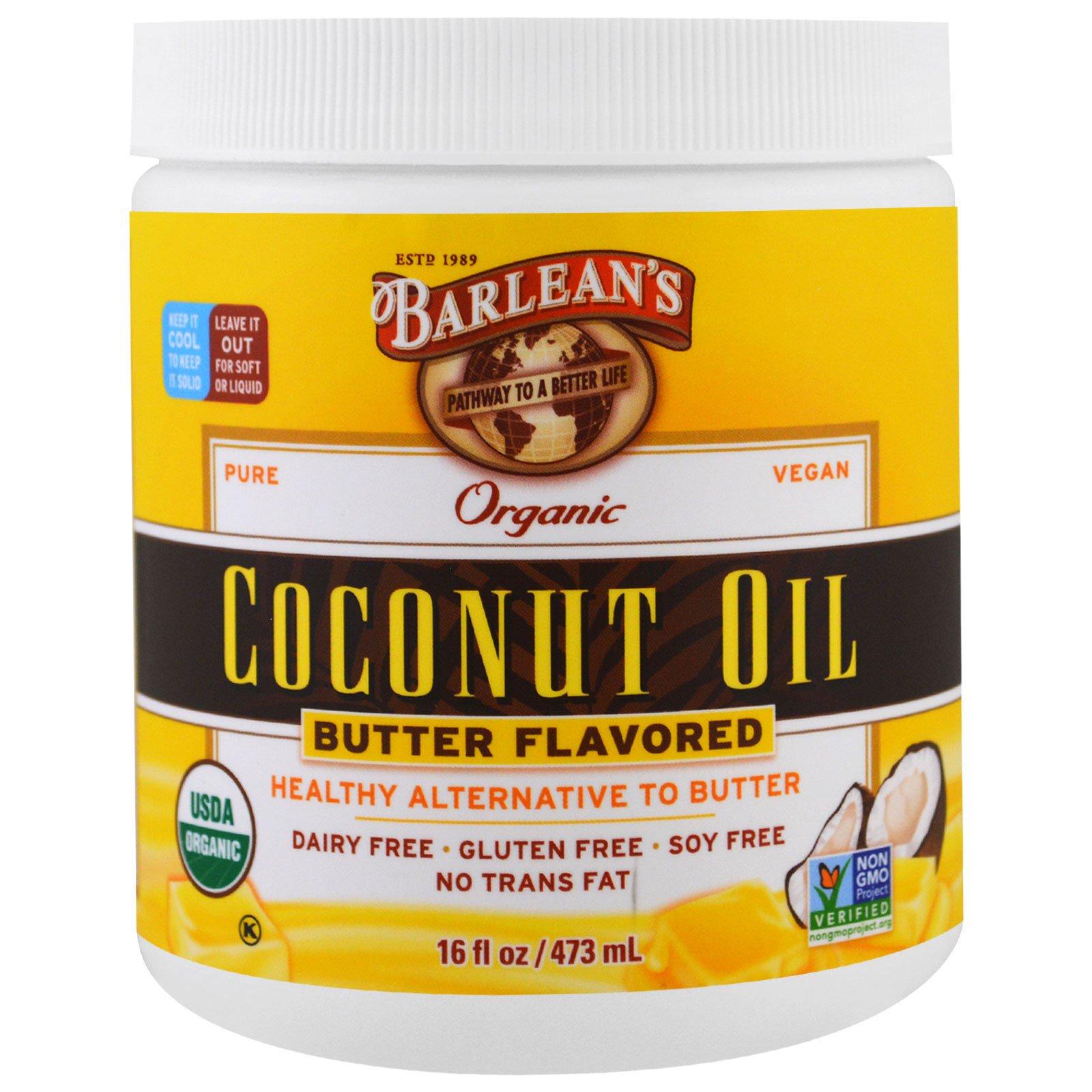 Barlean's, Органическое кокосовое масло, с ароматом сливочного масла, 473 мл (16 fl oz)