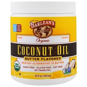 Барлинс, Organic Coconut Oil, Butter Flavored, 16 fl oz (473 ml) отзывы