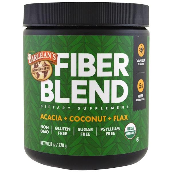 Barlean's, Organic Fiber Blend, Vanilla Flavor, 8 oz (228 g) (Discontinued Item)