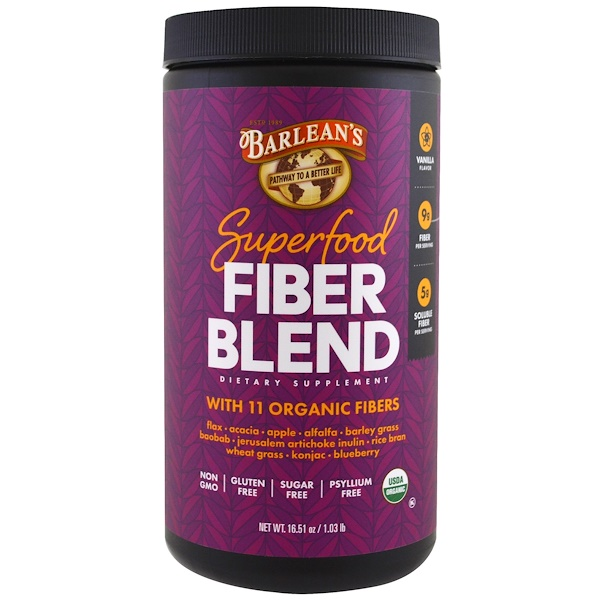 Barlean's, Organic Superfood Fiber Blend, Vanilla Flavor, 16.51 oz (Discontinued Item)