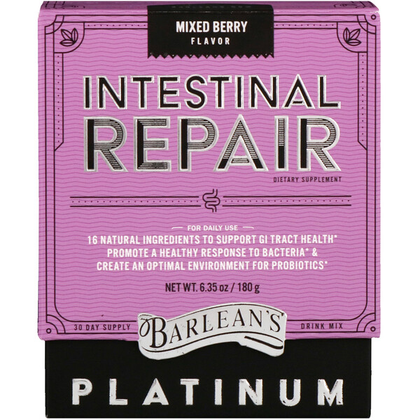 Barlean's, Platinum Intestinal Repair, Mixed Berry Flavor, 6.35 oz (180 g)
