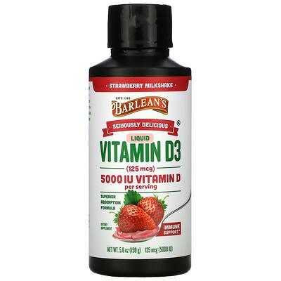 Купить Barlean's Seriously Delicious, Liquid Vitamin D3, Strawberry Milkshake, 125 mcg (5, 000 IU), 5.6 oz (159 g)