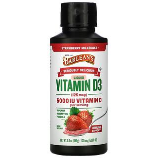 Barlean's, Seriously Delicious, Liquid Vitamin D3, Strawberry Milkshake, 125 mcg (5,000 IU), 5.6 oz (159 g)