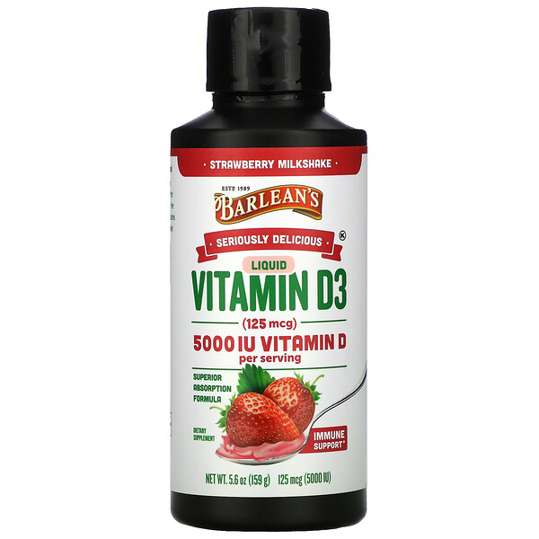 Seriously Delicious, Liquid Vitamin D3, Strawberry Milkshake, 125 mcg (5,000 IU), 5.6 oz (159 g)