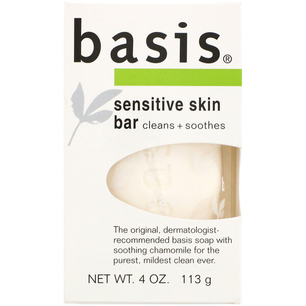 Basis, Sensitive Skin Bar, 4 oz (113 g)