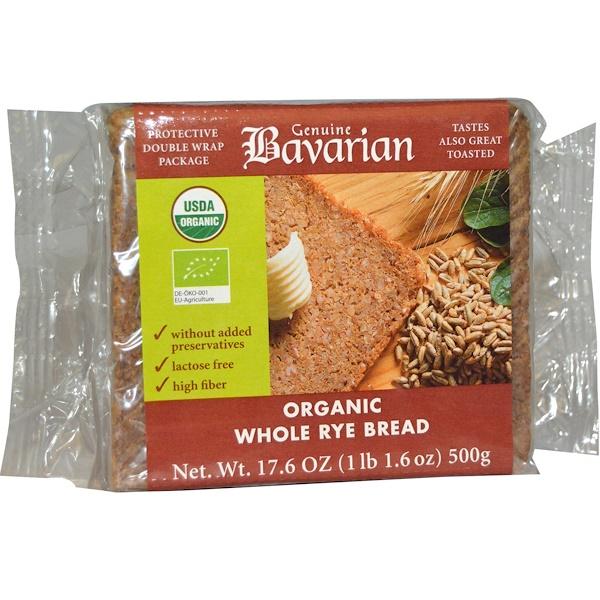 Bavarian Breads, Органический цельный  ржаной хлеб, 17,6 унции (500 г)