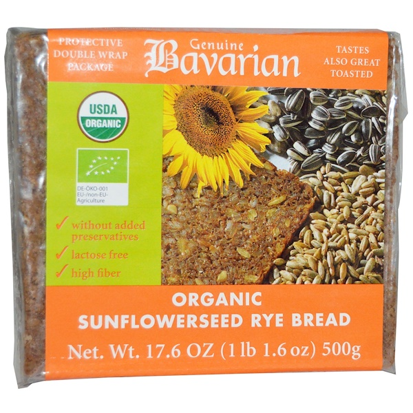 Bavarian Breads, Organic Sunflowerseed Rye Bread, 17.6 oz (500 g)
