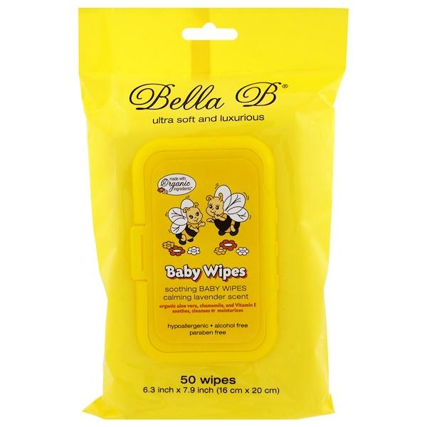 Bella B, Влажные салфетки для малышей, успокаивающий аромат лаванды, 50 салфеток - 6,3 х 7,9 дюймов (Discontinued Item)
