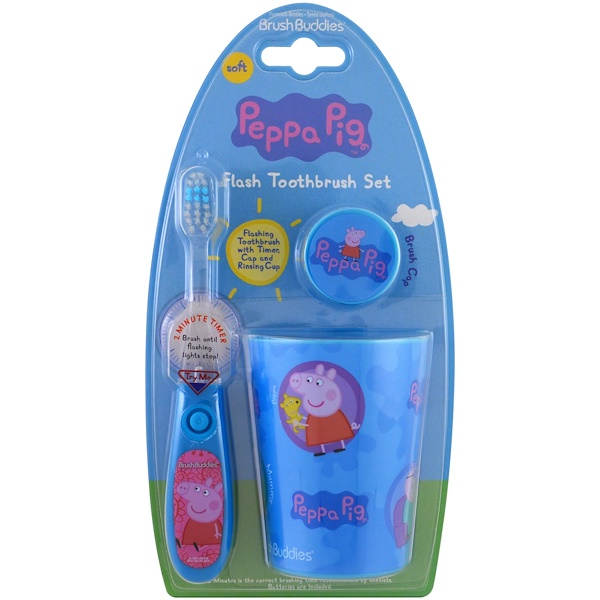 Brush Buddies, Peppa Pig, Flash Toothbrush Set, Soft, 3 Piece Kit (Discontinued Item)