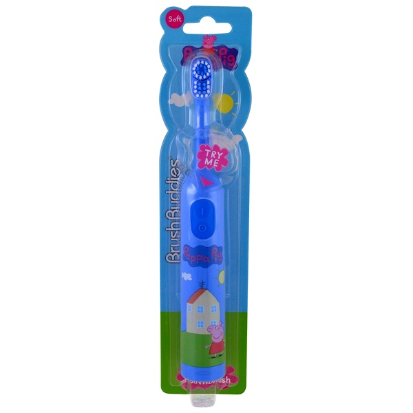 Brush Buddies, Peppa Pig, cepillo de dientes eléctrico, suave, 1 cepillo de dientes (Discontinued Item)