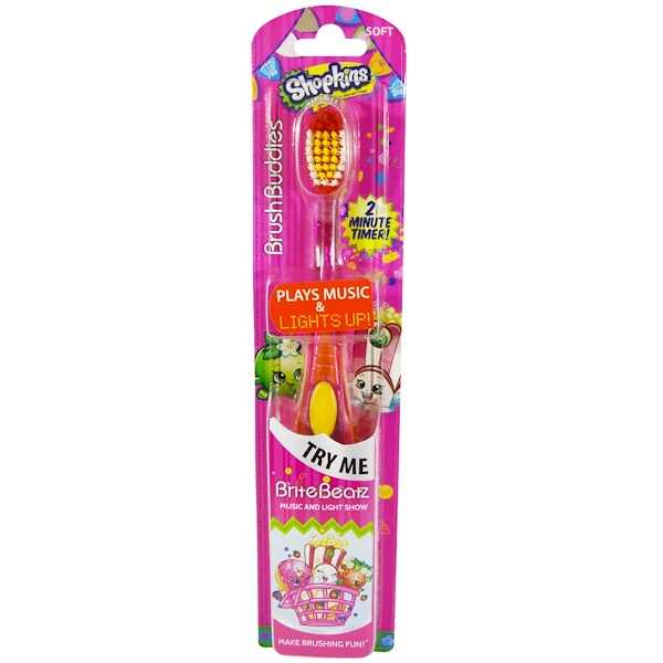 Brush Buddies, Shopkins, Brite Beatz зубная щетка, мягкая, 1 шт (Discontinued Item)