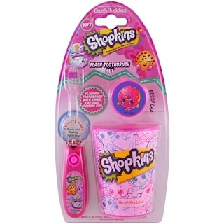 Brush Buddies, Shopkins, Set de higiene dental, Suave, Kit de 3 piezas