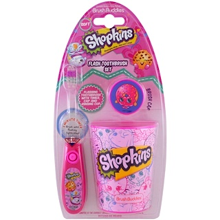 Brush Buddies, Shopkins, Flash Toothbrush Set, Soft, 3 Piece Kit
