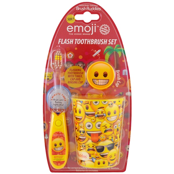 Brush Buddies, Emoji, Flash Toothbrush Set, Soft, 3 Piece Kit (Discontinued Item)