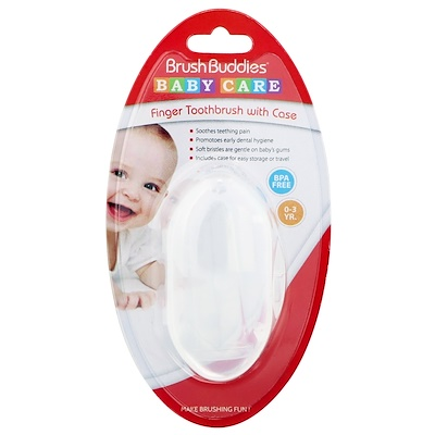 Уход за малышом, зубная щетка на палец, 0-3 года, 1 зубная щетка с чехлом