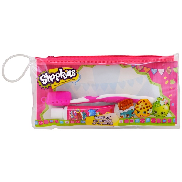 Brush Buddies, Shopkins, Toothbrushing Travel Kit, 3 Piece Kit (Discontinued Item)