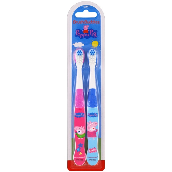 Brush Buddies, Peppa Pig Toothbrush, Soft, 2 Pack