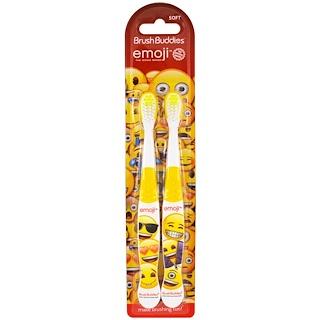 Brush Buddies, Escova de Dentes de Emoji, Macia, Embalagem com 2
