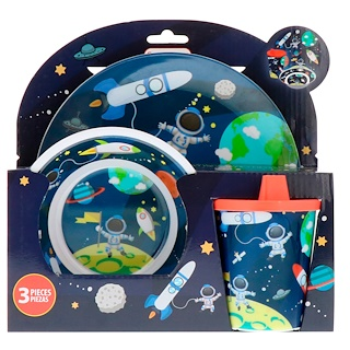 Brush Buddies, Smart Care, 3 Piece Dinnerware Set, Space, 3 Piece Set