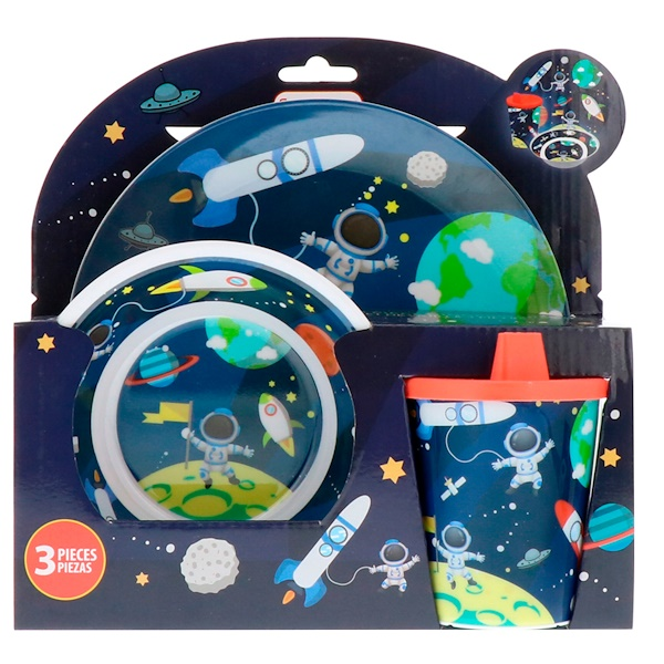 Brush Buddies, Smart Care, 3 Piece Dinnerware Set, Space, 3 Piece Set (Discontinued Item)