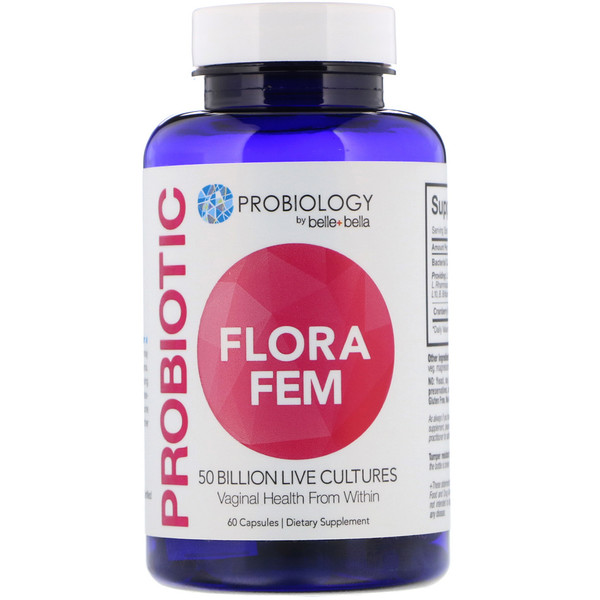 Belle+Bella, Probiology, Probiotic Flora Fem, 50 Billion CFU, 60 Capsules (Discontinued Item)