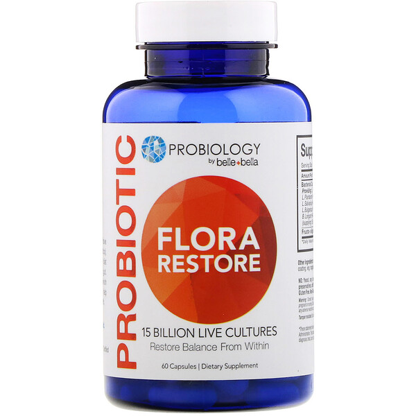 Belle+Bella, Probiology, Probiotic Flora Restore, 15 Billion CFU, 60 Capsules (Discontinued Item)