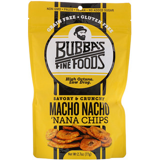 Bubba's Fine Foods, Chips 'Nana, Nacho Macho, 2.7 oz (77 g)