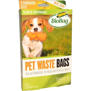 Biobag, Pet Waste Bags, 50 Bags, 11.4 in x 7.9 in x 0.92 mil (32 cm x 20 cm x 23 um)