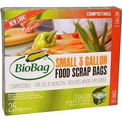 Biobag, Food Scrap Bags, Small, 25 Bags, 3 Gallon, 16.9 in x 17.7 in x 0.64 mil (43 cm x 45 cm x 16 um)