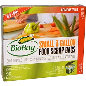 Байобэг, Food Scrap Bags, Small, 25 Bags, 3 Gallon, 16.9 in x 17.7 in x 0.64 mil (43 cm x 45 cm x 16 um) отзывы покупателей
