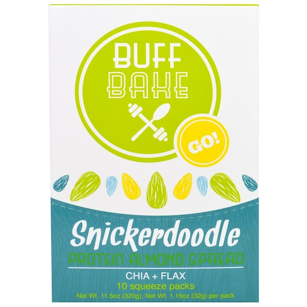 Buff Bake, Snickerdoodle Protein Almond Spread, 10 Squeeze Packs, 1.15 oz (32 g) Each (Discontinued Item)
