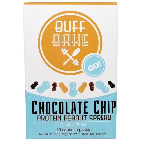 Buff Bake, Chocolate Chip Protein Peanut Spread, Chia + Flax, 10 Squeeze Packs, 1.15 oz (32 g) Each (Discontinued Item)