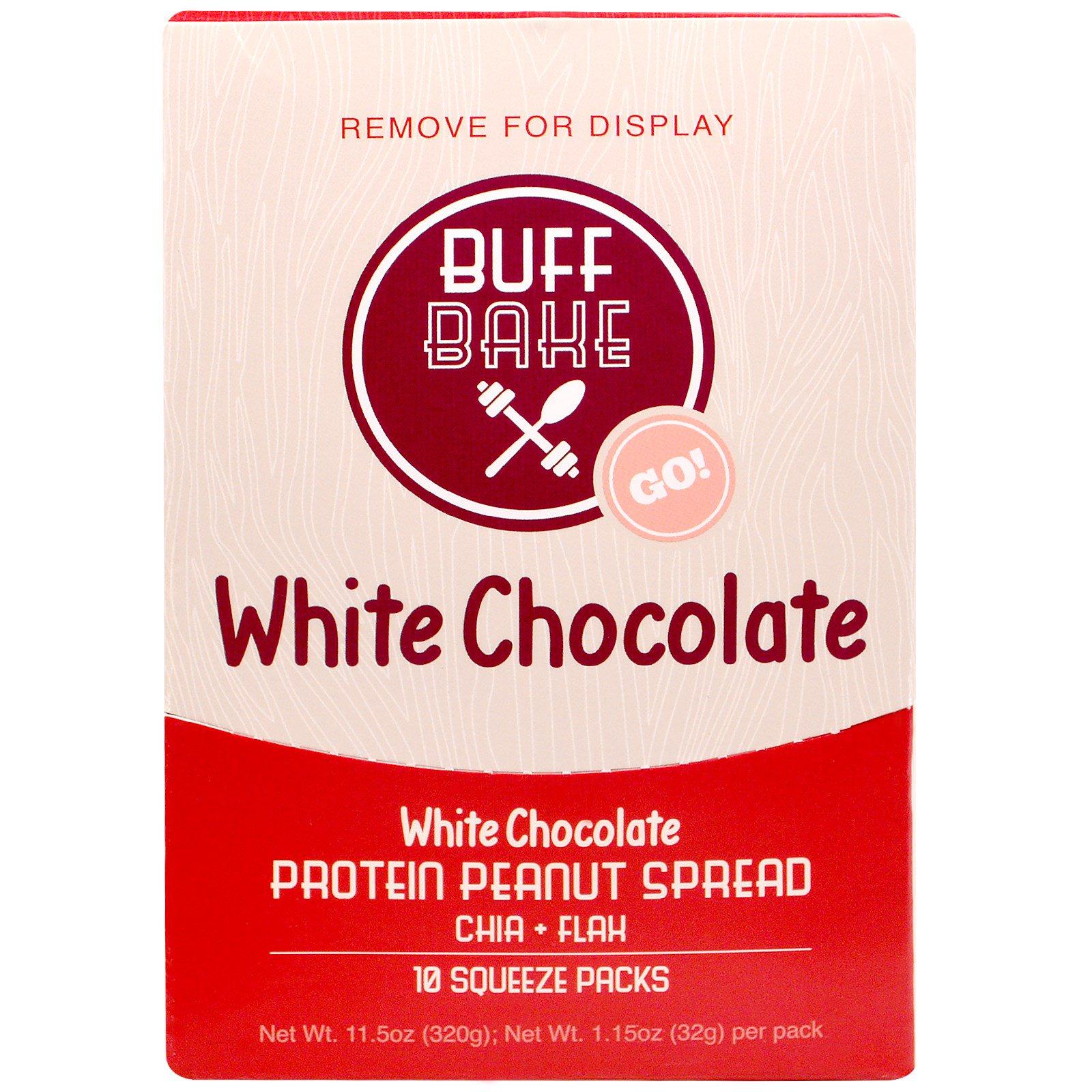 Buff Bake, White Chocolate Протеиновая Миндальная Намазка, 10 Сжимаемых пакетов, по 1,15 унции (32 г) каждый