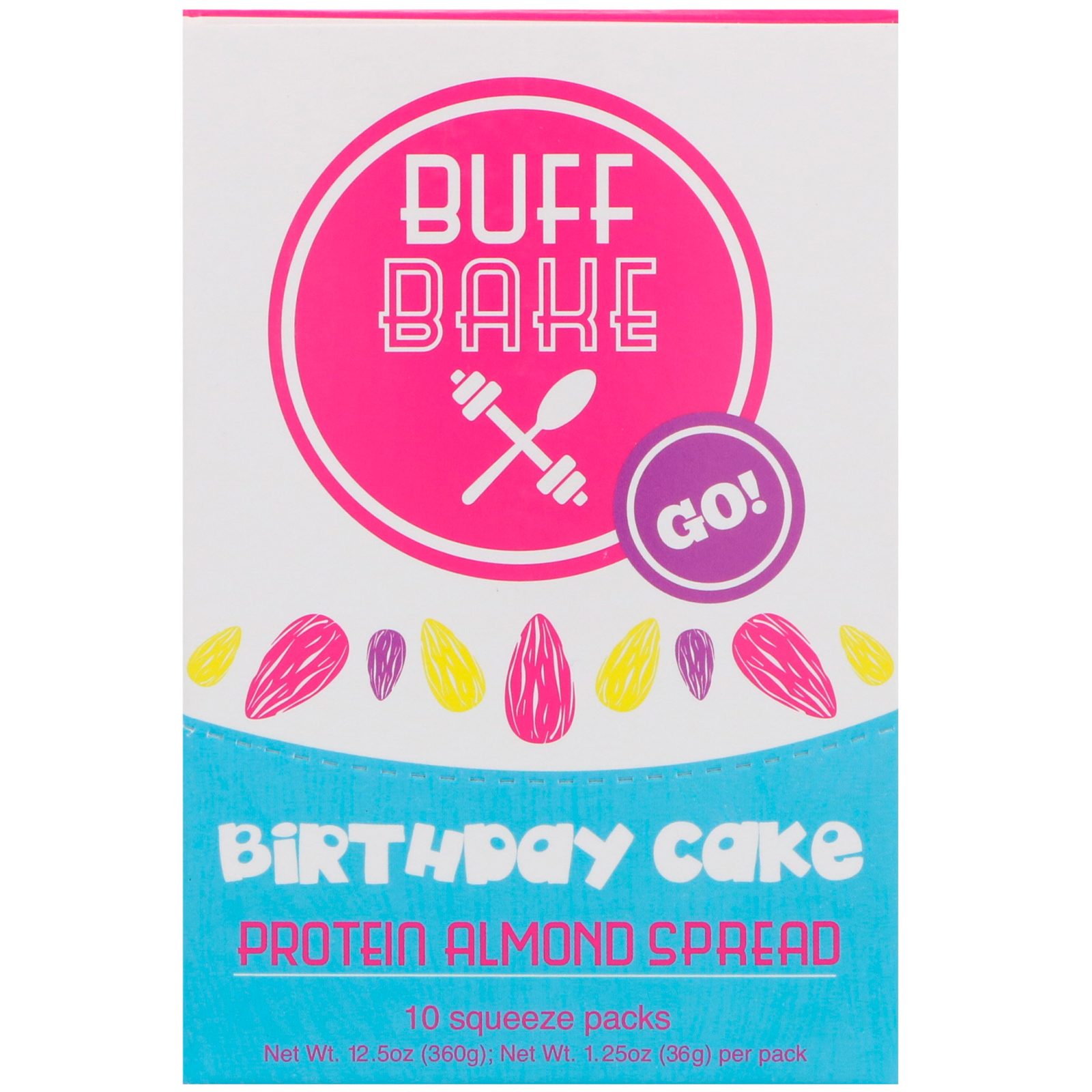 Buff Bake Birthday Cake Protein Almond Spread 10 Squeeze Packs 125 Oz 36 G Each