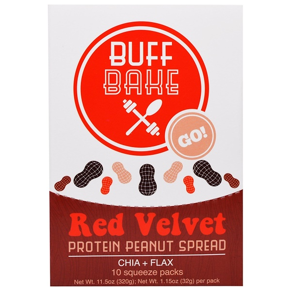 Buff Bake, Red Velvet Protein Peanut Spread , 10 Squeeze Packs, 1.15 oz (32 g) Each (Discontinued Item)
