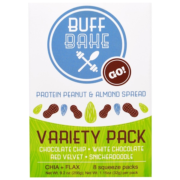 Buff Bake, Protein Peanut & Almond Spread, Variety Pack, 8 Squeeze Packs, 1.15 oz (32 g) Each (Discontinued Item)