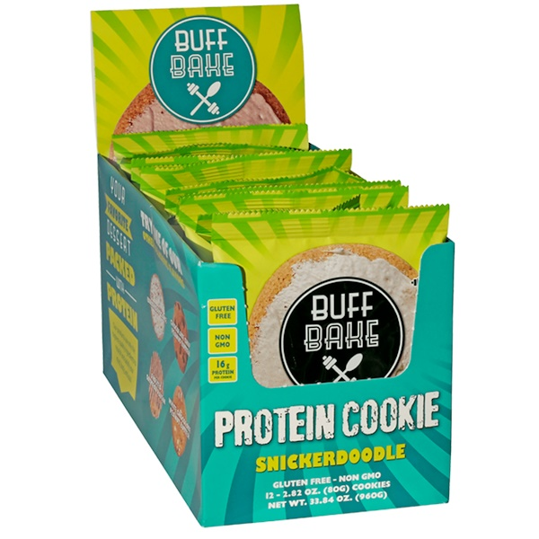 Buff Bake, Protein Cookie, Snickerdoodle, 12 Cookies, 2.82 oz (80 g) Each (Discontinued Item)