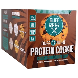 Buff Bake, Protein Cookie, Classic Chocolate Chip, 12 Cookies, 2.82 oz (80 g) Each
