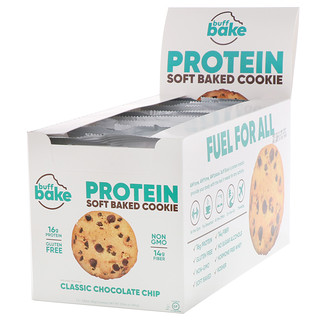 Buff Bake, Protein Soft Baked Cookie, Classic Chocolate Chip, 12 Cookies, 2.82 oz (80 g) Each