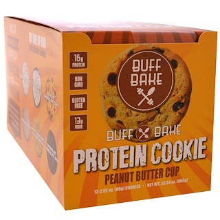 Buff Bake, Protein Cookie, Peanut Butter Cup, 12 Cookies, 2.82 oz (80 g) Each