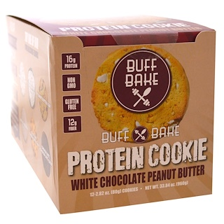 Buff Bake, Protein Cookie, White Chocolate Peanut Butter, 12 Cookies, 2.82 oz (80 g) Each