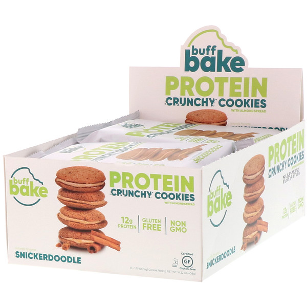 Buff Bake, Protein Crunchy Cookies, Snickerdoodle, 8 Cookie Packs, 1.79 oz (51 g) Each (Discontinued Item)