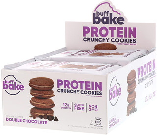 Buff Bake, Protein Crunchy Cookies, Double Chocolate, 8 Cookie Packs, 1.79 oz (51 g) Each