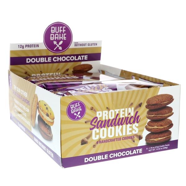 Buff Bake, 蛋白質三明治曲奇,雙層巧克力,8 片曲奇,1、79 盎司(51 克)