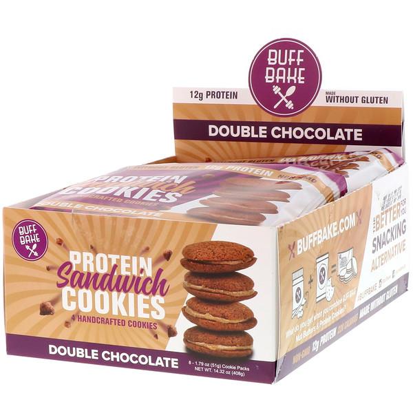 Buff Bake, プロテイン・サンドイッチクッキー、ダブルチョコレート、8個入りパック、各1.79オンス (51 g)