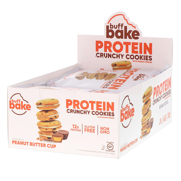 Buff Bake, Protein Crunchy Cookies, Peanut Butter Cup, 8 Cookie Packs, 1.79 oz (51 g) Each