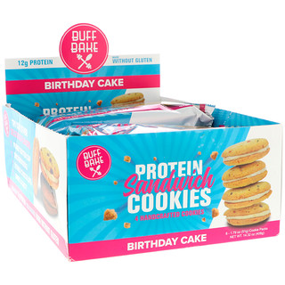 Buff Bake, Protein Sandwich Cookies, Birthday Cake, 8 Cookie Packs, 1.79 oz (51 g) Each