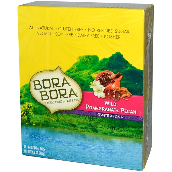 Bora Bora, Exotic Fruit & Nut Bars, Wild Pomegranate Pecan, 12 Bars, 1.4 oz (40 g) Each (Discontinued Item)