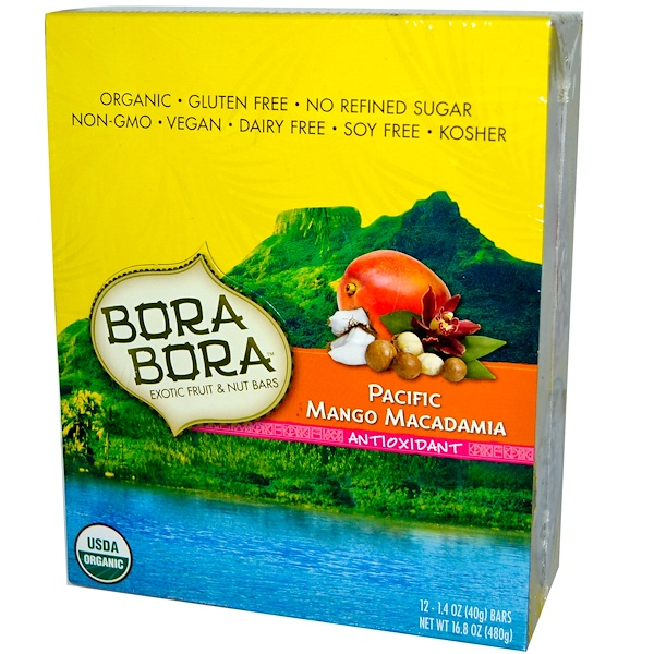 Bora Bora, Exotic Fruit & Nut Bars, Antioxidant, Pacific Mango Macadamia, 12 Bars, 1.4 oz (40 g) Each (Discontinued Item)