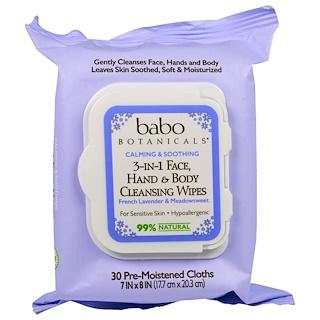 Babo Botanicals, 3合1安撫舒緩面部、手部和身體清潔濕巾,法國薰衣草和繡線菊,30片濕巾